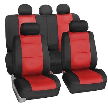 FH GROUP FB083115 Neoprene Waterproof Car Seat Covers Airbag Ready Rear Split Red