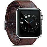 MacTop Watch Band for Apple Watch Series 2 and Series 3 - 42mm Replacement Band with Secure Metal Clasp Buckle .(Dark brown)