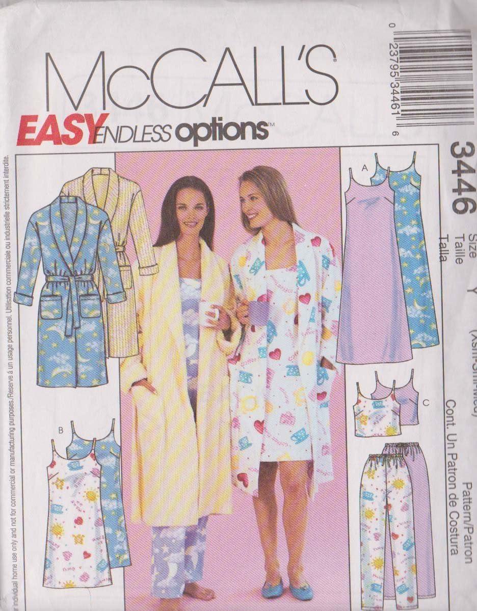 chemise de nuit en deux longueurs Taille Y: xsmsmlmed Femme//Miss Petite robe haut et cordon de serrage Pantalon pour femme mccalls patterns Patron de Couture 3446/