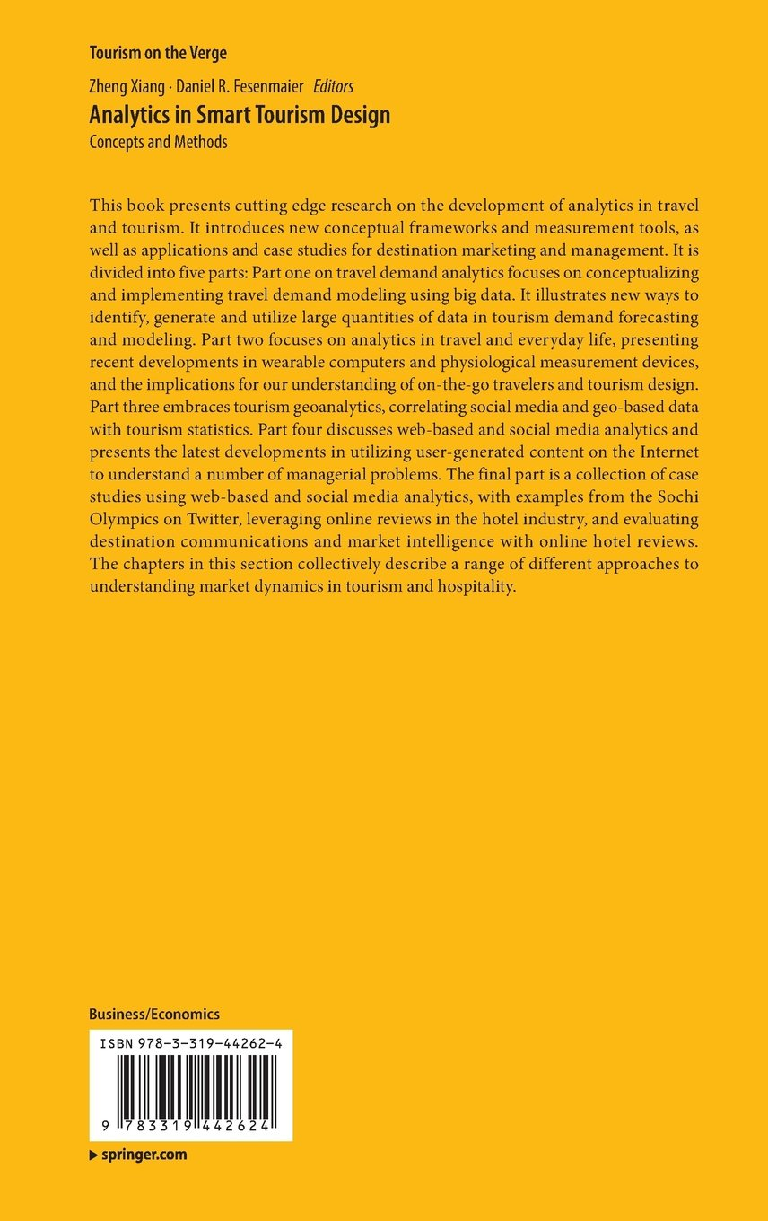 Analytics in Smart Tourism Design: Concepts and Methods (Tourism on the Verge)