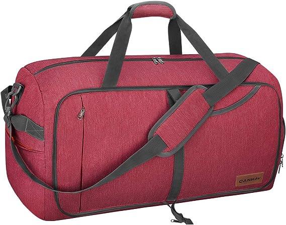 Canway Bolsa de Viaje Plegable Bolsa Deporte 65L Bolsa Equipaje Duffle Bag Impermeable y la Resistencia al Desgarro Bolsillos Múltiples para Mujer y