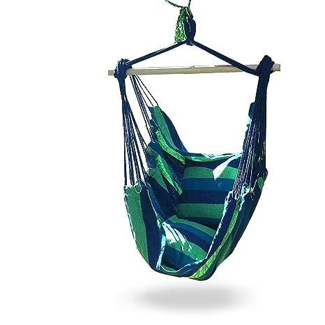 631af3b1b Hamaca silla columpio para interior o exterior espacios, S gancho & incluye  cuerda, azul