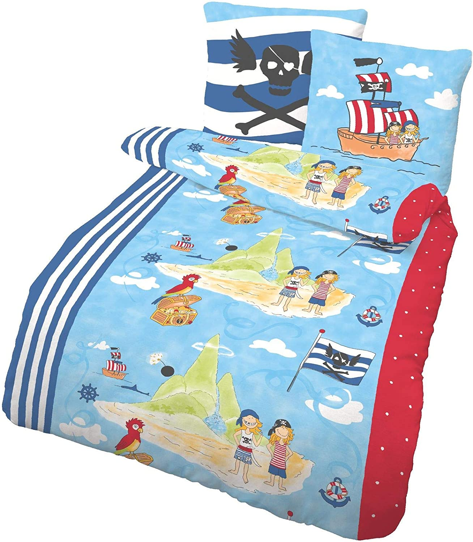 Unbekannt IDO Renforce Kinder Bettw/äsche 2 TLG Pirat blau 135x200 cm 80x80 cm