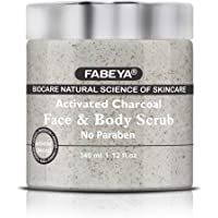 FABEYA Biocare Natural Activated Charcoal Face and Body Scrub, 340 ml
