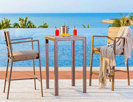 Outstanding Solaura Outdoor Furniture 3 Piece Bistro Set High Bar Table Set Powder Coated Frame With Neutral Beige Seat Cushions Machost Co Dining Chair Design Ideas Machostcouk