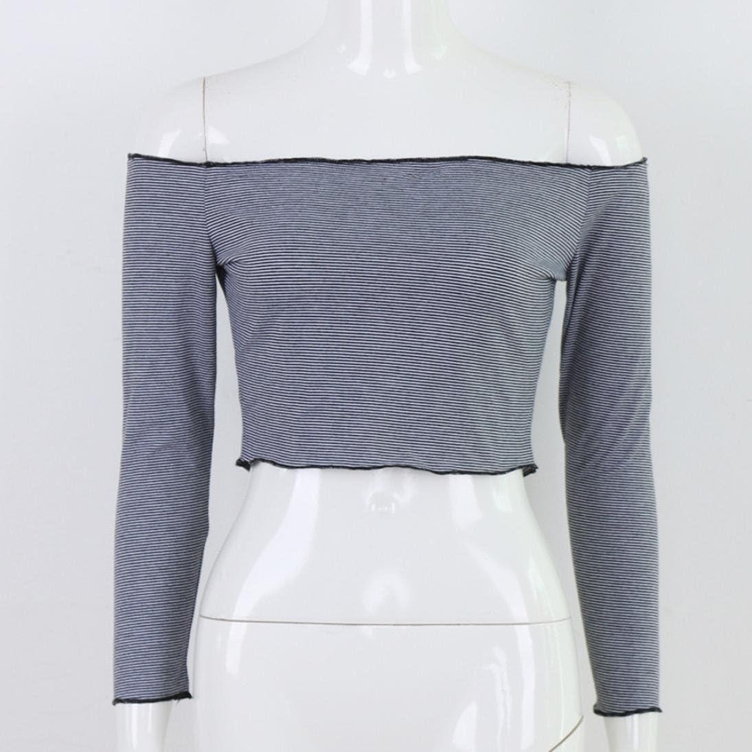 MORCHAN Femmes Hors /épaule /à Manches Longues /à Rayures L/âches Tops Casual Blouse T Shirt