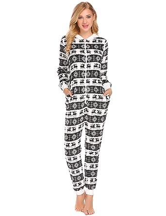 Pagacat Womens Cheismas One Piece Pajamas Onesie Front Hooded Jumpsuit  (Black 279f3dc877