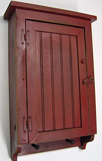 Amazon Com Hcbr Cabinet Primitive Country Rustic Wood Beadboard Face With Pegs Barn Red Furniture Decor