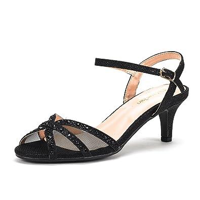 DREAM PAIRS Women s Nina-150 Black Low Heel Pump Sandals - 5 ... c5de1b4dc9