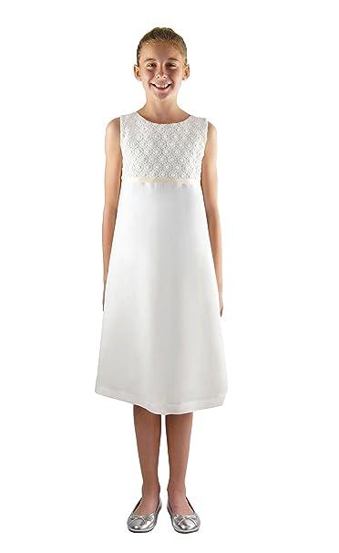 bdcf975fd Vestido de comunión Blanco Emma para niñas Viscosa/Lino con Lindo Encaje de  algodón en Estilo Imperio, teñible: Amazon.es: Ropa y accesorios