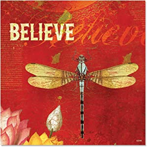 Tree-Free Greetings Premium Refrigerator Magnet, 3.5 x 3.5 Inches, Believe Themed Dragonfly Art (62548)
