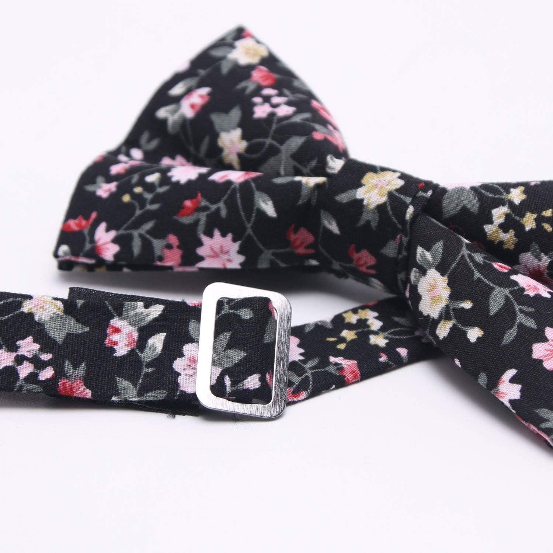 Mumusung Mens Flower Core Solid Bowtie