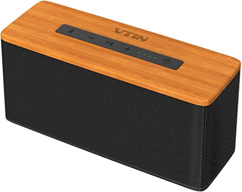 VTIN Soundhot B2 Bluetooth Speakers, 30W Loud Wood Home Outdoor Wireless Speaker, Super Bass Stereo Sound, 66 Ft Bluetooth V5.0 and 24H Playtime,TWS Connection