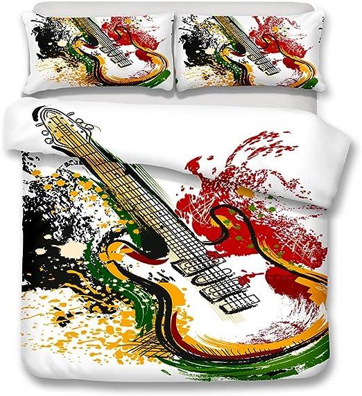 Juego de funda nórdica, instrumento de guitarra colorido Pintura ...