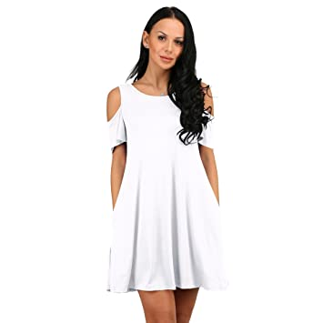 butterme Mujeres hombro fría de Túnica-Camiseta Vestido De Verano De beiläufiges múltiple Mini mango