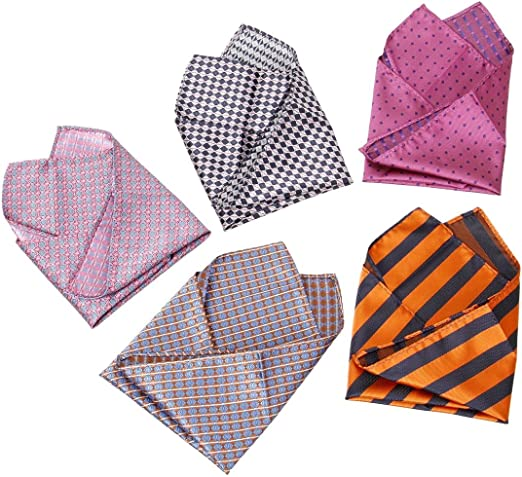 Mens White Plain Soft Finish 6 PCS Pocket Square Handkerchiefs
