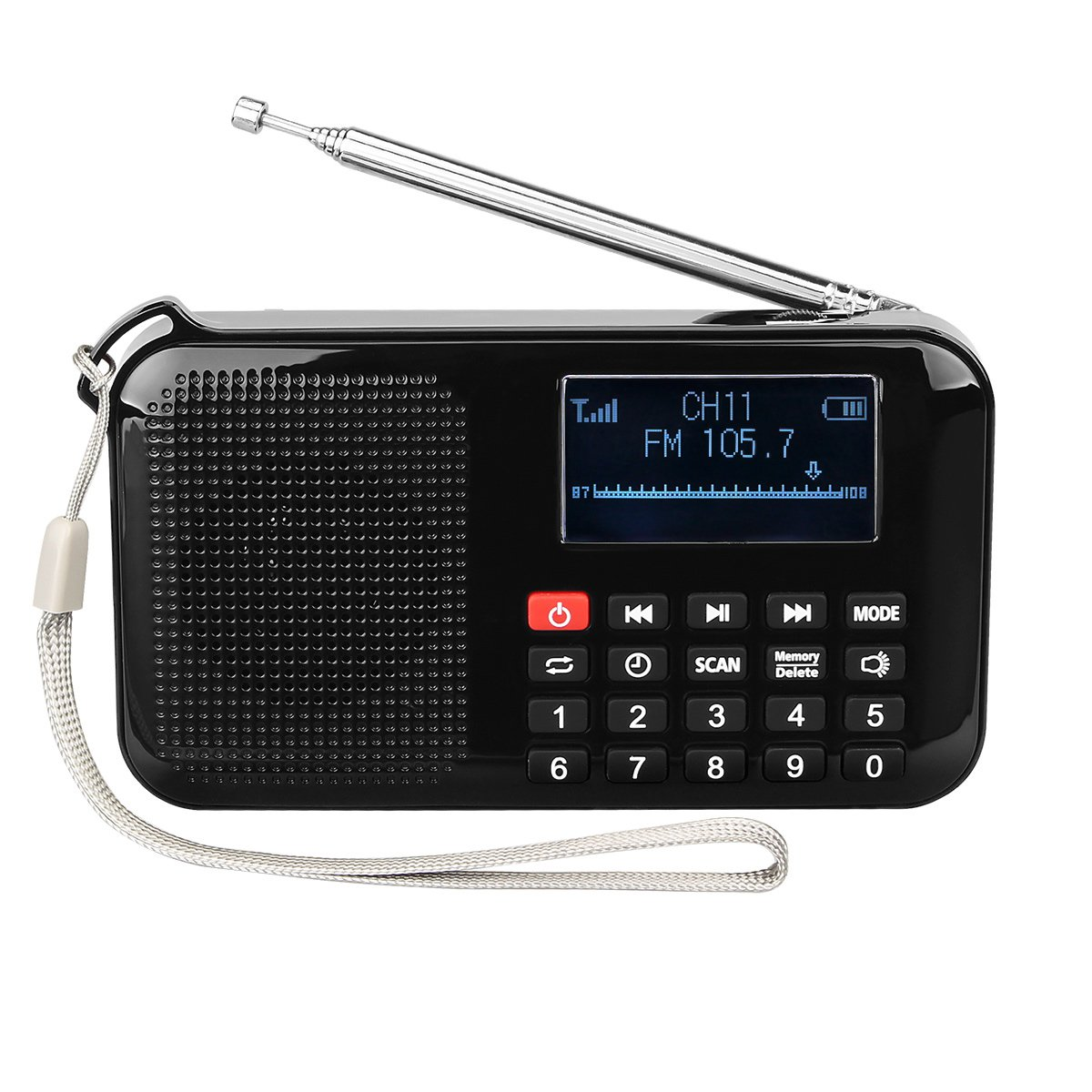 Retekess Portable L-388 FM Radio Solar Powered MP3 Player Speaker support USB disk TF card with Flashlight Sleep Timer Charger to the Phone(Black)