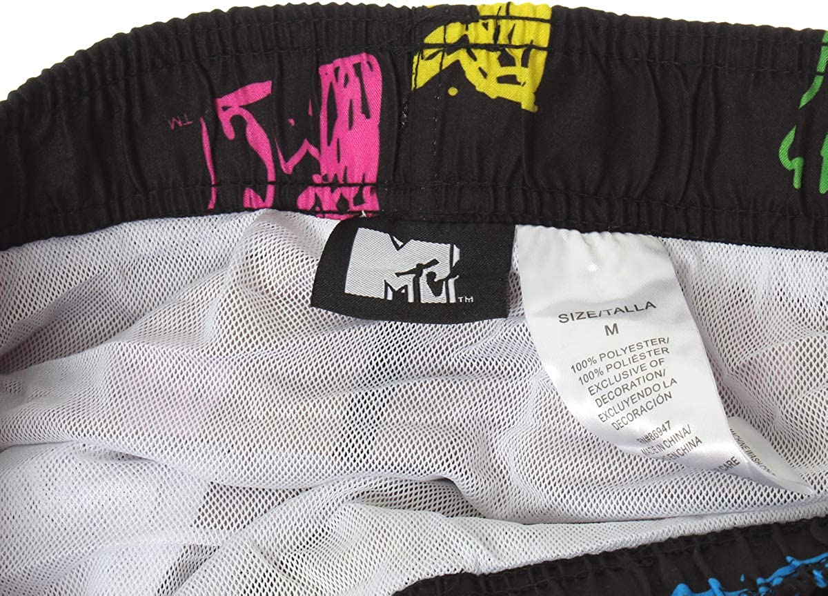 Seven Times Six MTV Music Television Mens Neon Logo Allover Design Swim Trunks