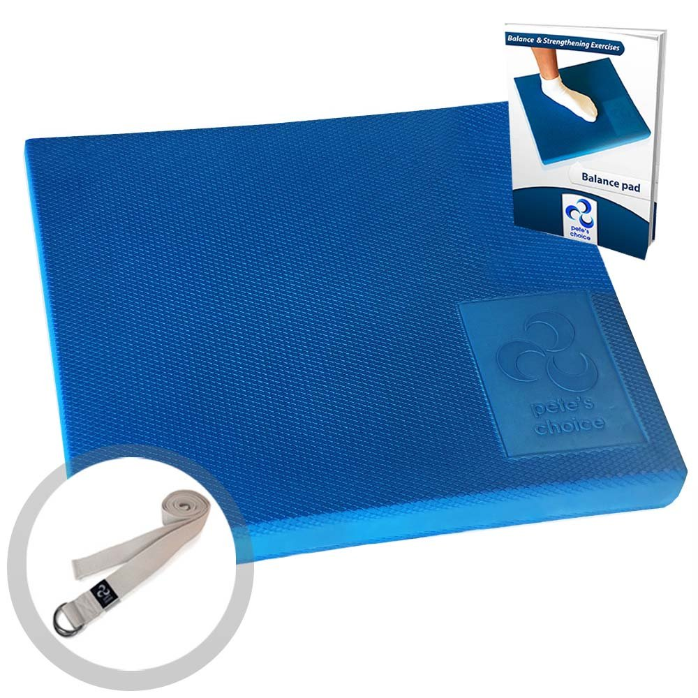 XL & L Foam Balance Pad - FREE Stretching Strap & BONUS eBook | Extra Large Balance Pads for Physical Therapy Rehab & Ankle Recovery, Lower Back/Knee Pain | X Large Wobble Board Cushion for Strength