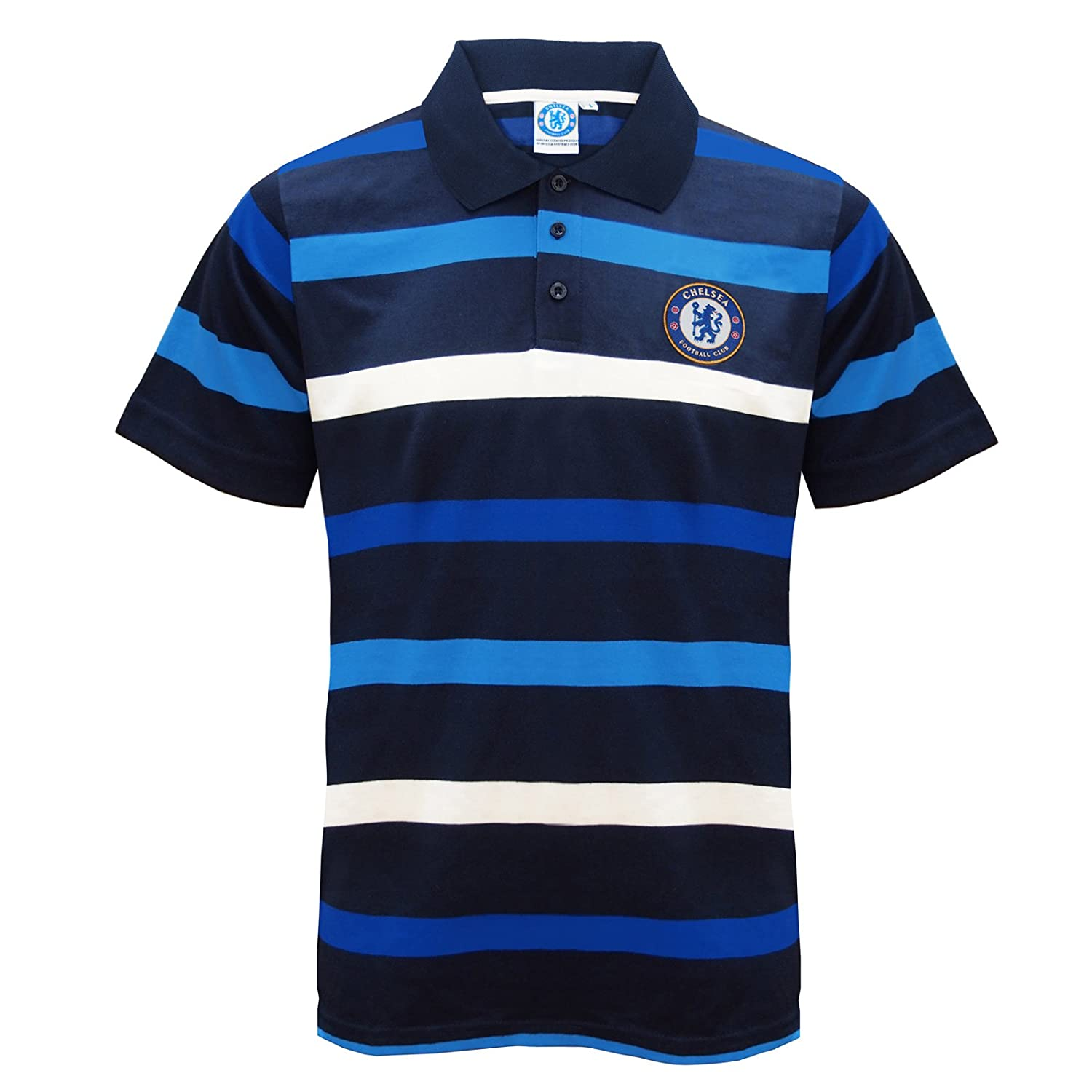 Chelsea FC Official Football Gift Mens Striped Polo Shirt Blue