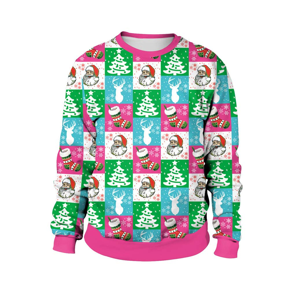 rocicaS Clearance Women's Hoodie Long Sleeve Unisex Christmas 3D Print Hooded Sweater Sweatshirt Jumper Pullover Blouses Top
