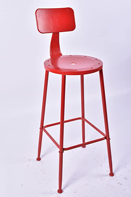 Pleasing Amazon Com Topower Industrial Metal Barstool Round Seat Red Inzonedesignstudio Interior Chair Design Inzonedesignstudiocom