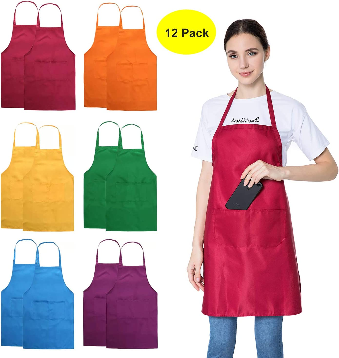 Simple Unisex Denim Apron Painting Kitchen Cooking Restaurant Work Apron SL