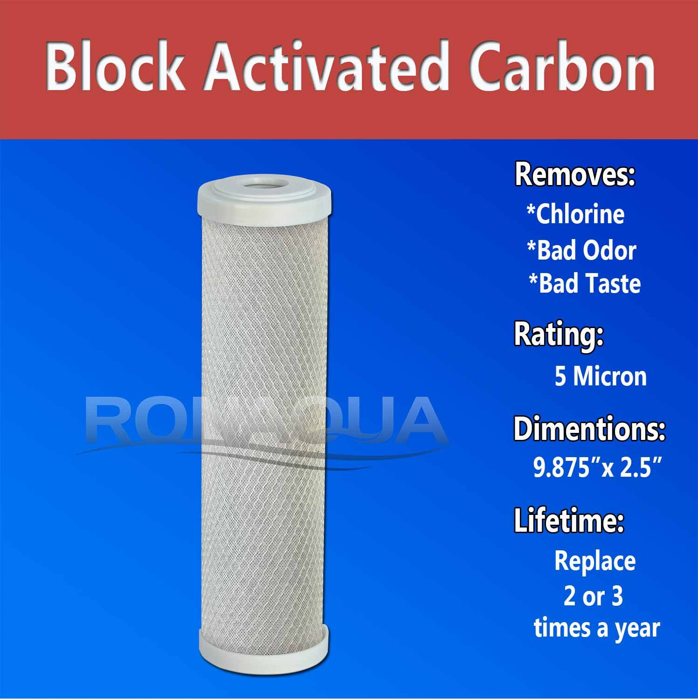 6 Block Activated Carbon 5 Micron Water Filters Set Ronaqua 6-C