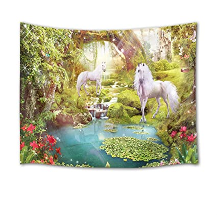 HVEST Tapiz de unicornio, animales en el bosque con plantas azules verdes, flores rojas