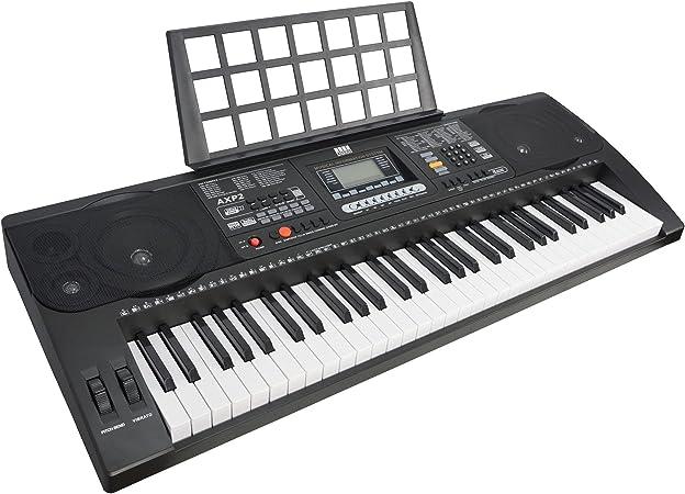 Axus Teclado para principiantes 61 con teclado electrónico sensible al tacto, fuente de alimentación y porta partituras