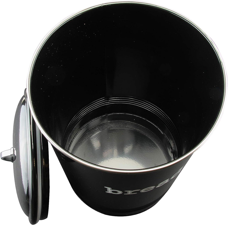 EHC Color Negro 23 x 36 cm Tarro Redondo esmaltado para Pan