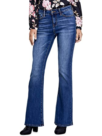 aa04f061758 GUESS Factory Women s Alinha Mid-Rise Flare Jeans at Amazon Women s Jeans  store