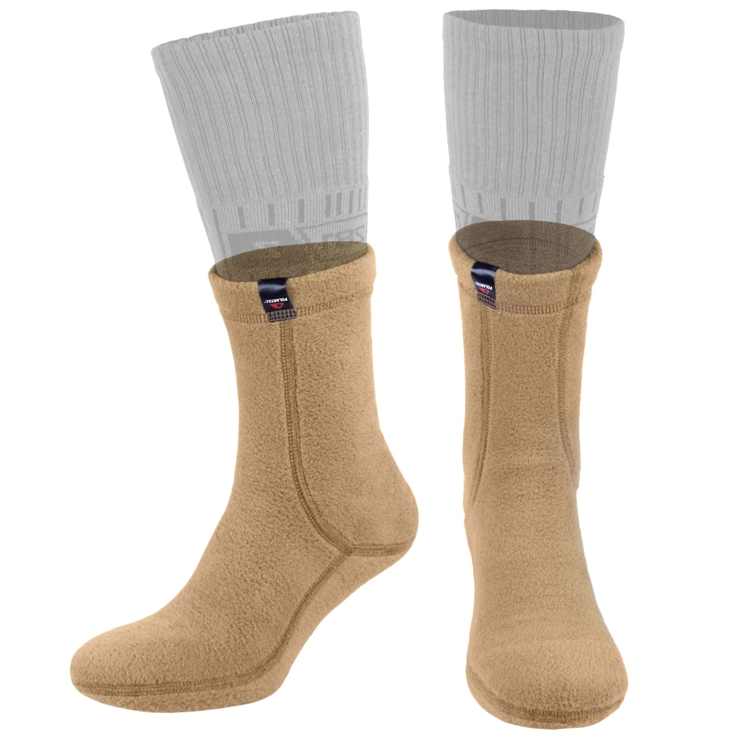 Hiking Warm Liners Boot Socks - Military Tactical Outdoor Sport - Polartec Fleece by 281Z (Medium, Coyote)