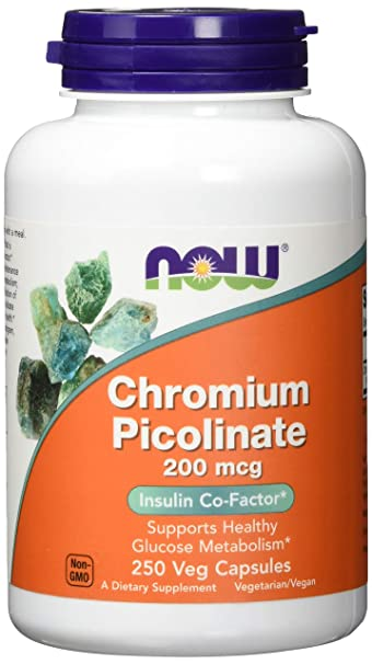 NOW Chromium Picolinate 200 mcg 250 Veg Capsules