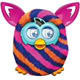 "Furby Boom Diagonal Stripes 5"" Plush Toy Interactive with Furby Furblings Creature (Pink, Orange, Navy)"