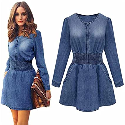 fc9086e8e9 Amazon.com: Hemlock Denim Jeans Dress, Women's Ladies Dress Shirt Party  Mini Dress (L, Blue): Kitchen & Dining