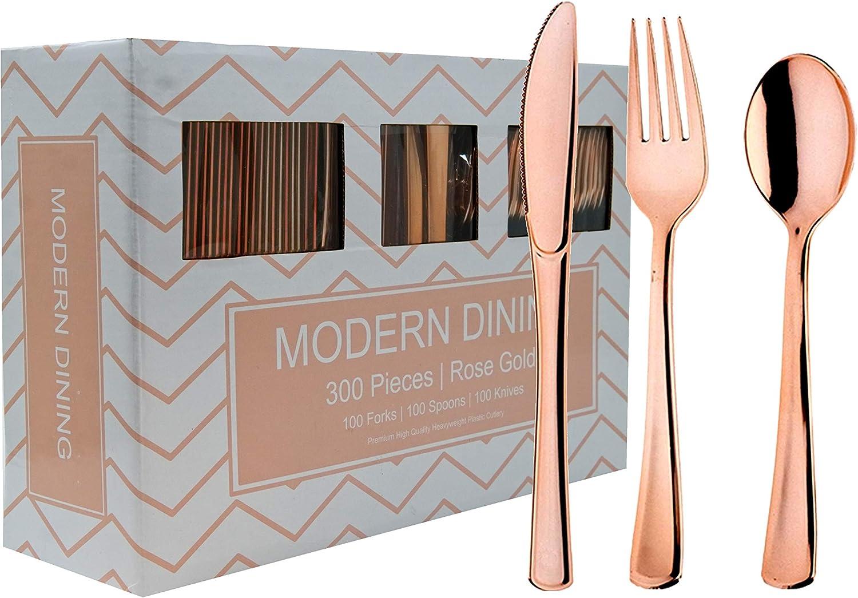 24 Plastic Silverware Set Rose Gold Plastic Cutlery Set Disposable Flatware