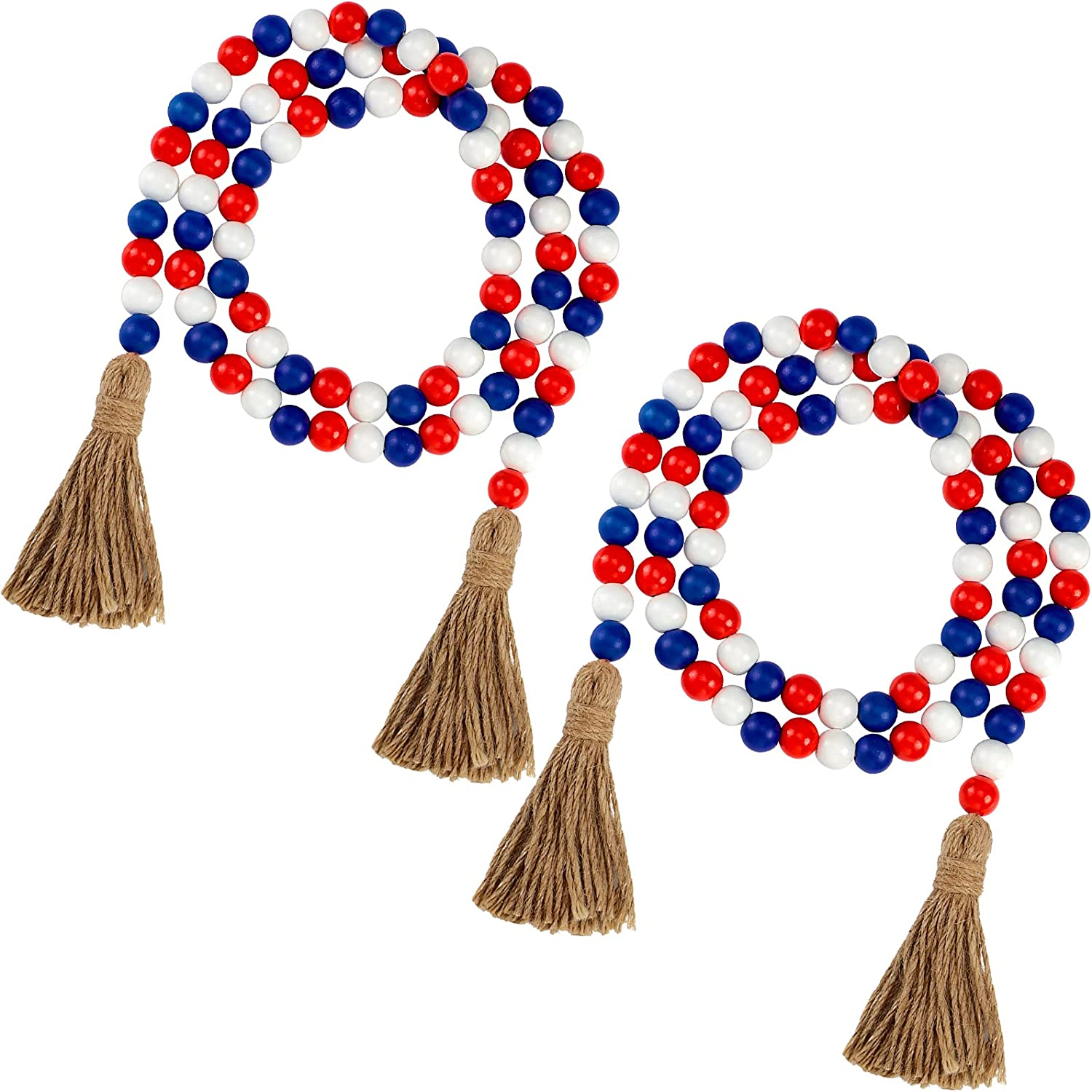 2 Pieces Independence Day Wood Beads with Tassels 10.8 ft Patriotic July 4th Wood Bead Garlands Farmhouse Rustic Country Wood Bead Boho Bead Garlands for Tiered Tray Decor