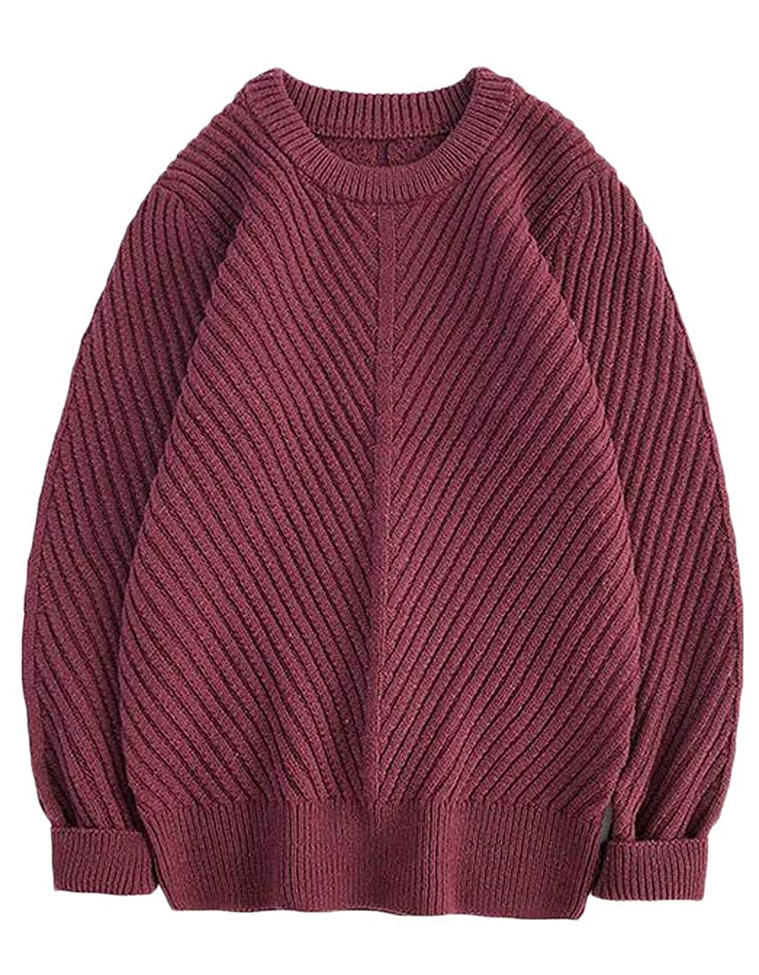 Macondoo Mens Crew-Neck Pullover Winter Solid Casual Knitwear Sweater