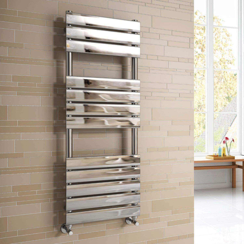 Soak Scaldasalviette di Design con Tubi Piatti, 1200 x 450 mm - Tutte le Dimensioni - Cromato