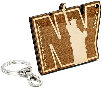 LIKY® Nueva York - Llavero Original de Madera Grabado Regalo ...