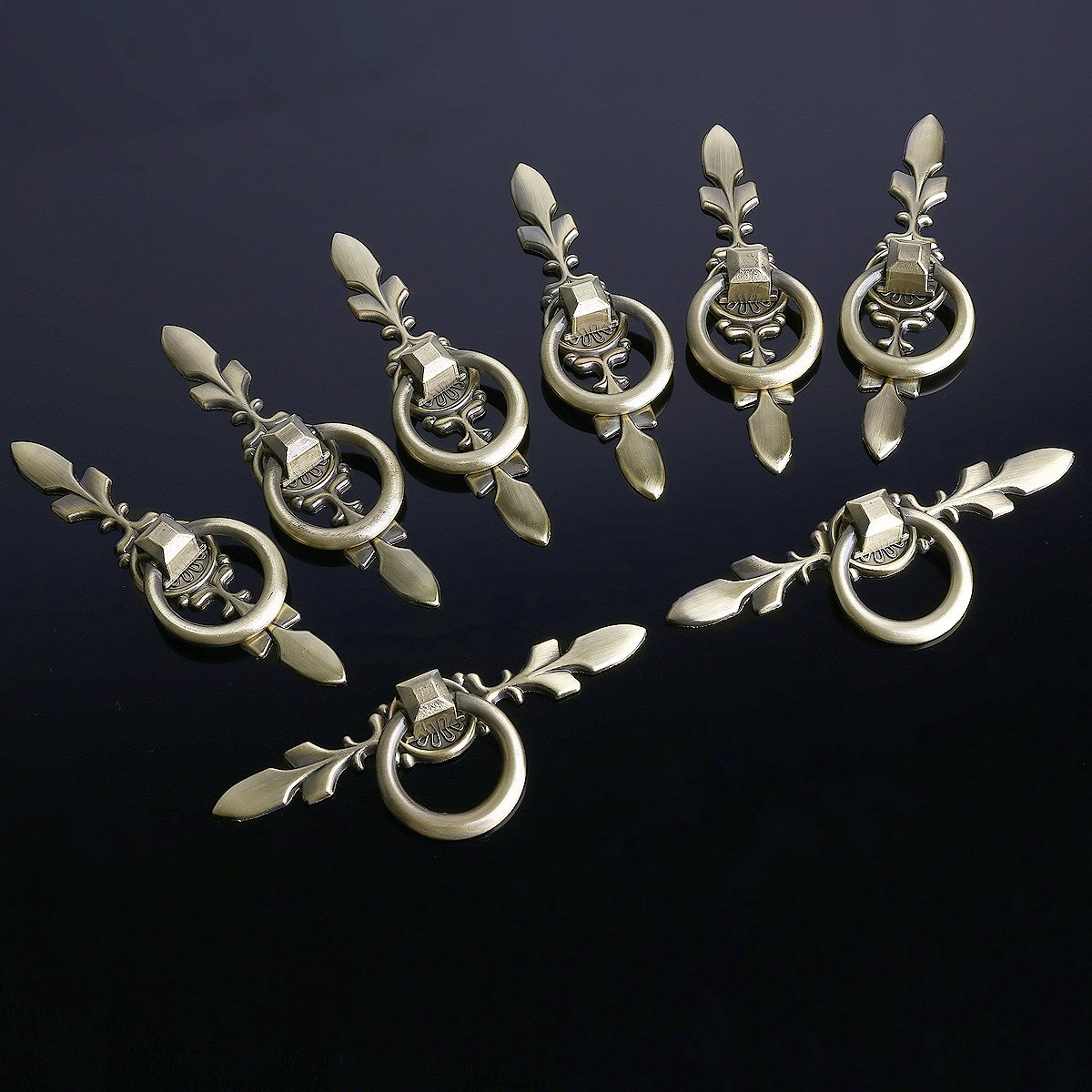 8er Antik Design Messing-Look M/öbelkn/öpfe Griffe M/öbelKnopf Schubladengriff mit Ringe