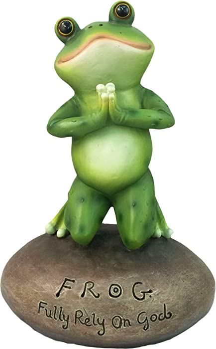 "DWK 6.5"" Blessed Assurance Inspirational Cute Praying Frog On Rock Statue Novelty Collectible Frog Figurine Christian Religious Garden Decor"