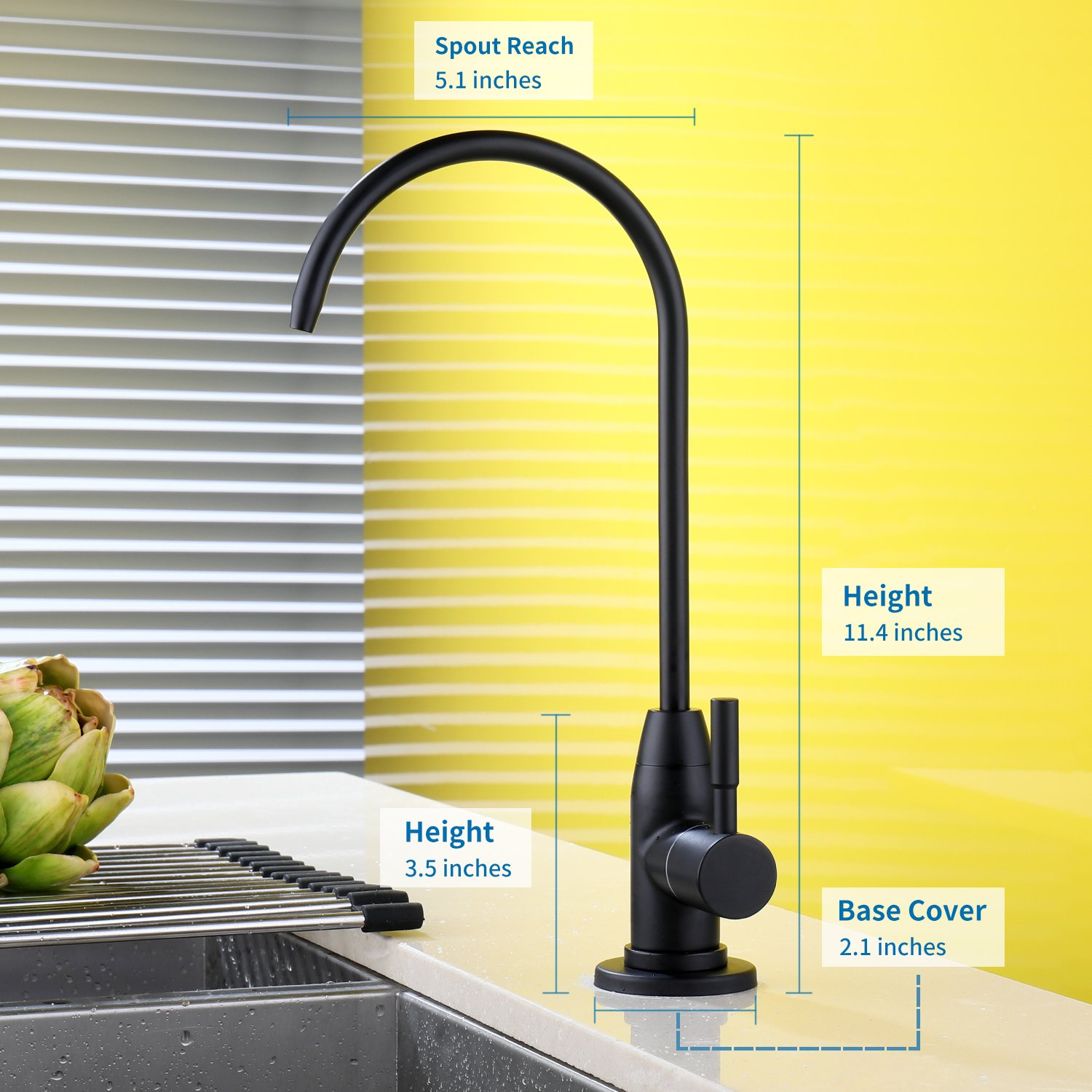 DuranRyan RO Drinking Water SUS304 Stainless Steel Faucet for RO Reverse Osmosis & Filter with Matte Black Finish by DuranRyan (Image #3)