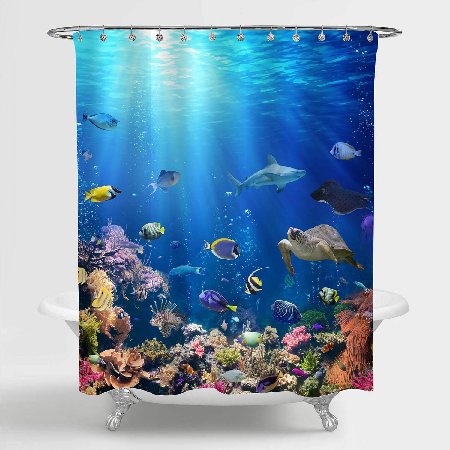 "MitoVilla 3D Ocean Fish Shower Curtain Set with Hooks, Nature Scenic of Tropical Fish, Turtle, Shark in the Sea Bathroom Decor for Ocean Themed Home, Gifts for Women, Men and Kids, Blue, 72"" W x 78"" L"