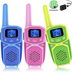 Funkiddo Walkie Talkies for Kids 3 Pack, Rechargeable Long Range Two Way Radio Kids Toys with Batteries and Charger, Outdoor Camping Hiking Birthday Party Xmas Gifts for Kids Girls Boys 3-12 Years Old