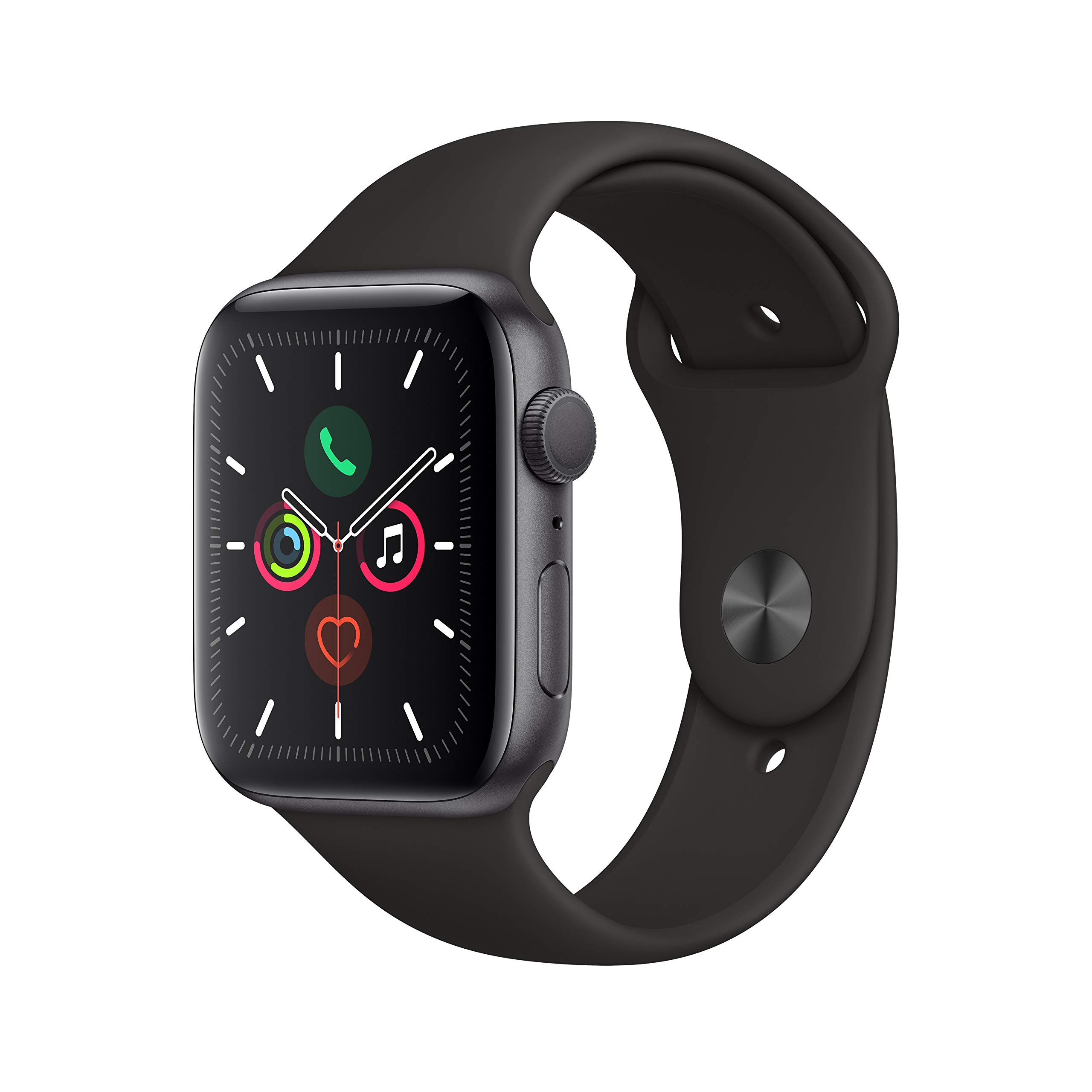 Apple Watch Series 5 (GPS, 44mm) - Space Gray Aluminum Case with Black Sport Band by Apple