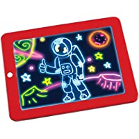 ZOQWEID® Magic Sketch Drawing Pad | Light Up LED Glow Board | Draw, Sketch, Create, Doodle, Art, Write, Learning Tablet | Includes 3 Dual Side Markers, 30 Stencils and 8 Colorful Effects for Kids