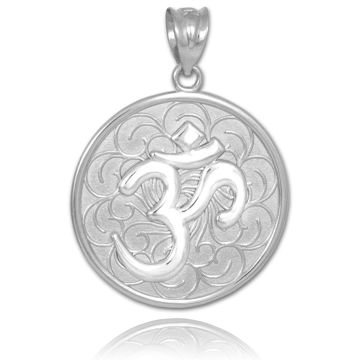Aum 14k White Gold Om Medallion Pendant