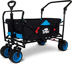 TMZ All Terrain Wide Wheel Utility Folding Wagon, Collapsible Garden Cart, Heavy Duty Beach Wagon Trolley with Adjustable Push Handle and Brake, 90 L Storage, Load of 150 kg